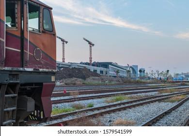 Construction site of Bangsue grand station Bangkok metropolitan  ,largest railway station in Southeast Asia and  600 metre long platforms, Thailand