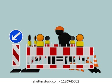 Construction site barrier with direction signs, warning lamps and construction workers. 3d rendering
