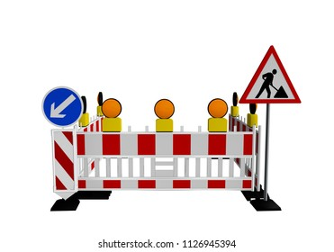 Construction site barrier with construction site sign and warning lights. 3d rendering