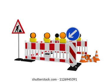 Construction site barrier with construction site signpost, direction sign and traffic cone. 3d rendering