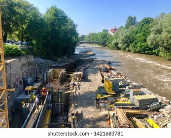 Construction site beneath the river Murr in Graz, Austria - the waste water channel is further separated from the river in order not to pollute it