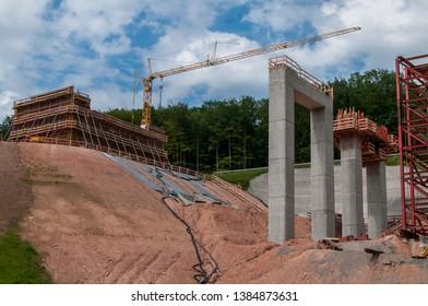 Construction site of a big motorway bridge