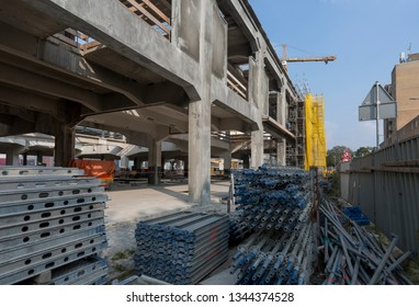 Construction site with building material ready to be processed and assimilated