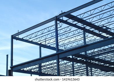 construction site building metal structure beams frame
