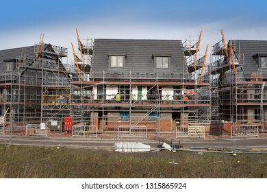 Construction site, building new energy efficient homes in the UK