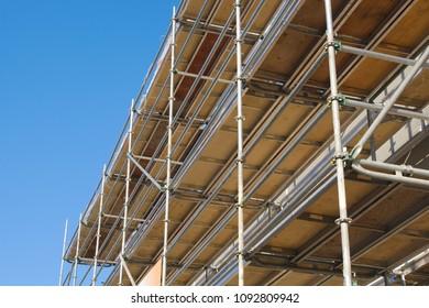 construction site building scaffolding metal structure