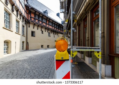 Construction site in the city centre of Wernigerode, with its half-timbered houses