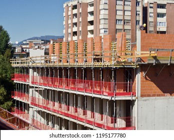 construction site in the city with workers