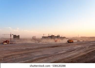 construction site of coal washery,  dust was blowing at dusk