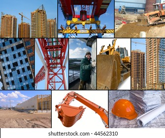 Construction site collage. Photo collage of construction related images around working man