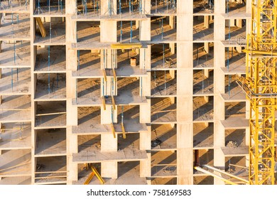 Construction site with concrete blocks at building industry