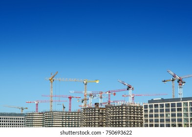 construction site with crane and blue sky