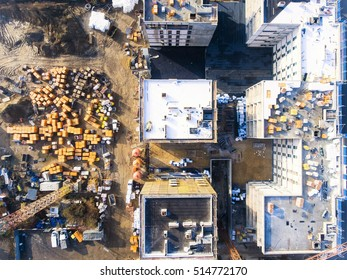 Construction site with crane and building - Aerial view