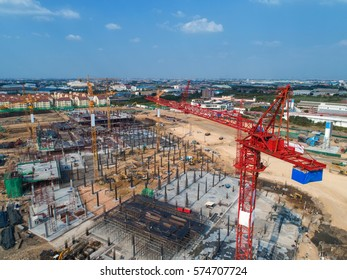 Construction site with cranes. Construction workers are building.Aerial view.Top view.