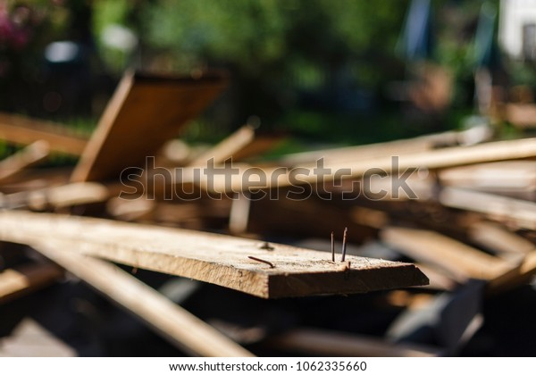 At the construction site - demolition and debris - recycling and recycling and disposal.