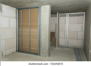 Construction site, drywall installation
