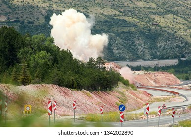 construction site dynamite blasting