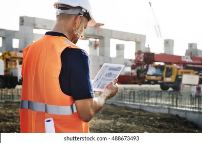 Construction Site Engineer Industry Concept