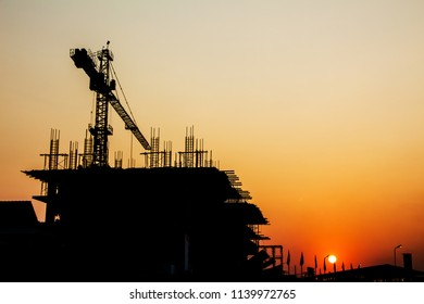 Construction site in the evening