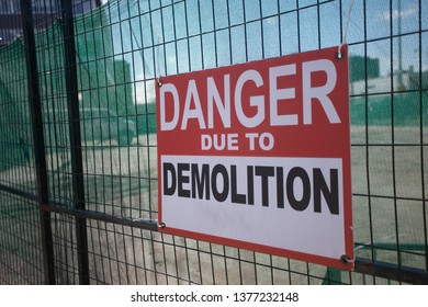 Construction Site Fenced Area Danger Due to Demolition