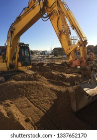Construction site foundation with excavator