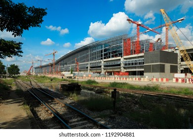 Construction site of grand station Bangkok metropolitan  ,largest railway station in Southeast Asia and  600 metre long platforms, Thailand