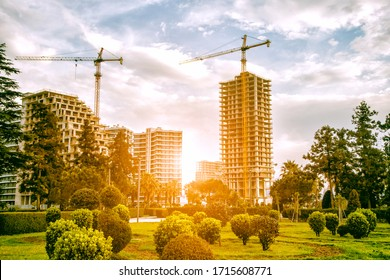 Construction site with green park area. Cranes and buildings in morning sun