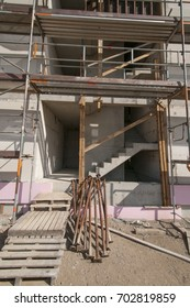 Construction site indoor staircase
