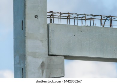 Construction site of an Industrial building with precast concrete parts
