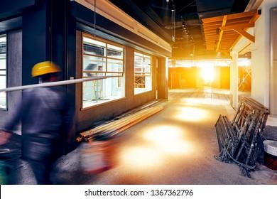 Construction site interior building under construction