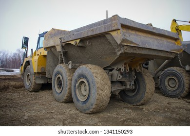 construction site lorry truck tipper yellow dirty heavy industry work