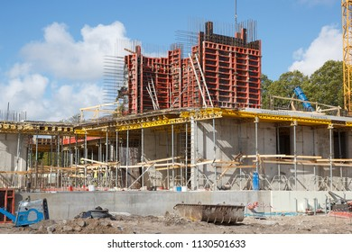 in construction site making a building foundation