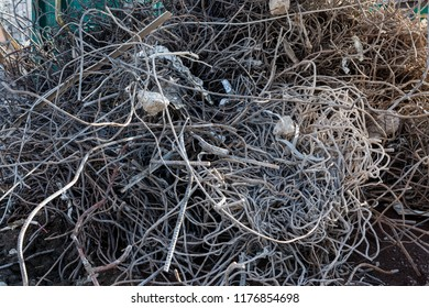 construction site metal wires trash pile