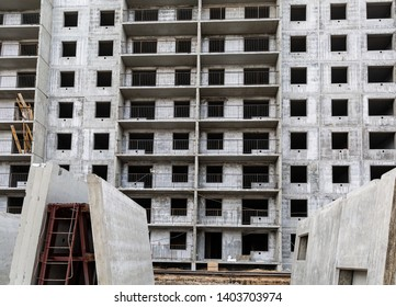 Construction site. Modern house building. Panel house. Multi-storey building