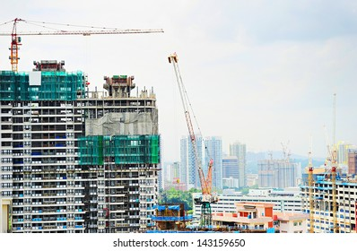 Construction site of a modern skyscraper in Singapore