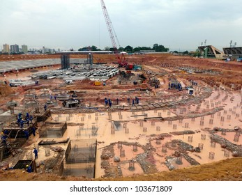 """Construction site on 19 November 2011 of the future World Cup soccer stadium """"Arena da Amazônia"""" in Manaus, Football World Cup in 2014 in Brazil"""