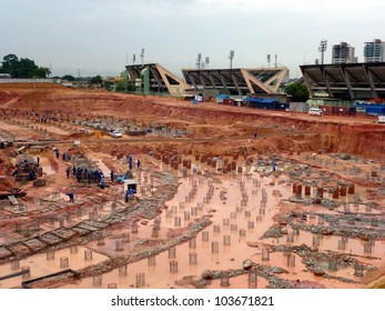 """Construction site on 19 November 2011 of the future World Cup soccer stadium """"Arena da Amazonia"""" in Manaus, Football World Cup in 2014 in Brazil"""