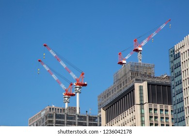 Construction site on blue sky background