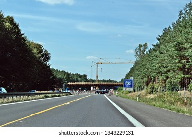 Construction Site on a Highway, Mecklenburg, Germany, 20.02.2019