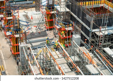Construction Site on Process While Installation Scaffold Under Constructed, Real Estate Development, Business Industry, Project Estate Management and Civil Engineering. Scaffolding Team