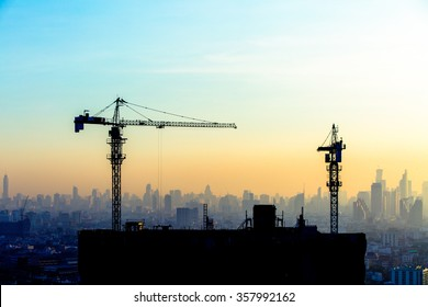 Construction site on the sky in twilight time background.