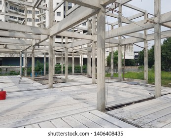 construction site with pipe and building beam column post