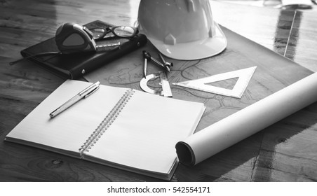 construction site Planning, Black and white tone