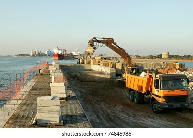 Construction site in port maritime. Extension of a dock