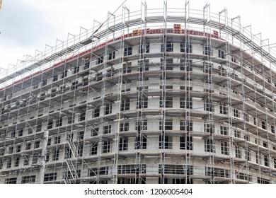 Construction site, scaffolding