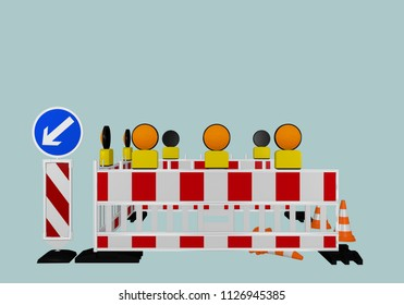 Construction site shut-off with direction signs, warning lights and traffic cones. 3d rendering