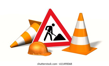 Construction site, construction site sign with pylons and safety helmet  isolated on white - 3d render