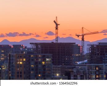 construction site silhouette at richmond, canada.