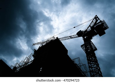 Construction Site Silhouette In Twilight
