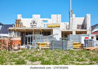 Construction site of a single-family house on which the shell is built.